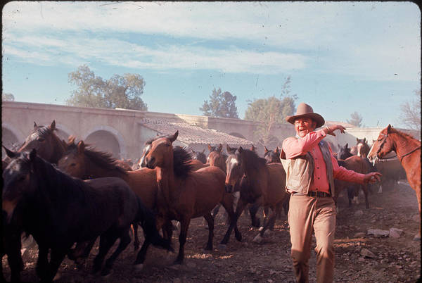 Photograph - John Wayne Filming Scene From Western by John Dominis