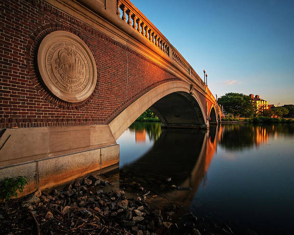 Photograph - John Weeks Bridge Sunset Reflection Charles River Cambridge Ma Harvard Square by Toby McGuire
