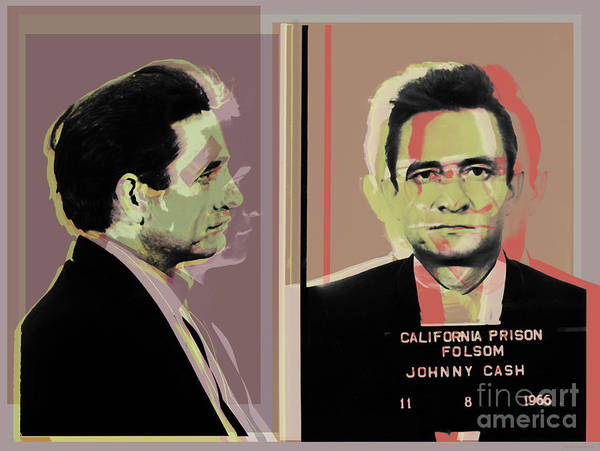Digital Art - Johnny Cash Mugshot Pop Art Warhol Style by Jean luc Comperat