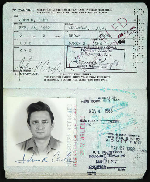 Wall Art - Photograph - Johnny Cash Passport 1968 by Daniel Hagerman