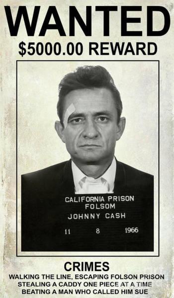 Wall Art - Photograph - Johnny Cash Wanted Poster by Jon Neidert