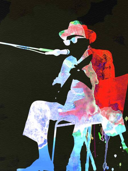 Wall Art - Mixed Media - Johnny Lee Hooker Watercolor II by Naxart Studio