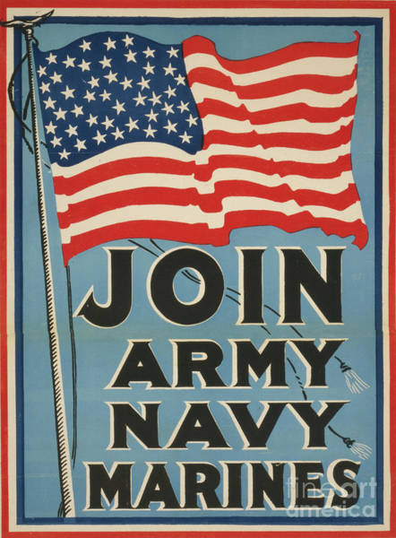 Wall Art - Painting - Join Army Navy Marines, Circa 1917 by American School