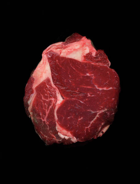 Raw Meat Photograph - Joint Of Beef Against Black Background by Mike Hill