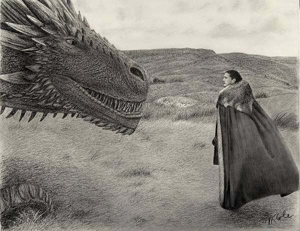 Wall Art - Drawing - Jon Snow Meets Drogon by Vanessa Cole