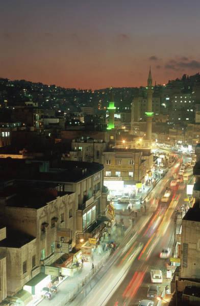 Wall Art - Photograph - Jordan, Amman, Cityscape,  Lights Of by Steve Outram