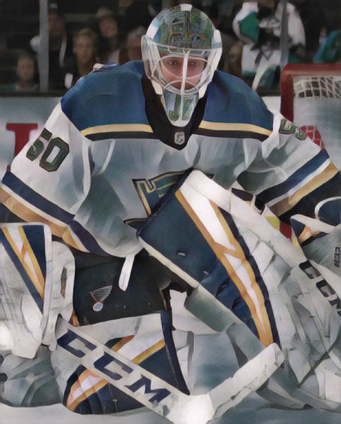 Wall Art - Mixed Media - Jordan Binnington St Louis Blues Abstract Art 1 by Joe Hamilton