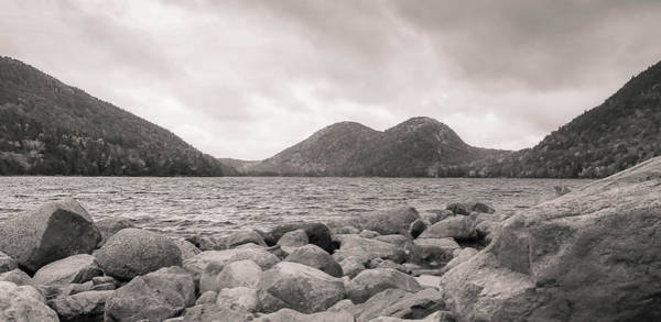 Photograph - Jordan Pond In Black And White by Dan Sproul