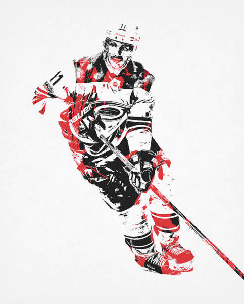 Wall Art - Mixed Media - Jordan Staal Carolina Hurricanes Pixel Art 1 by Joe Hamilton