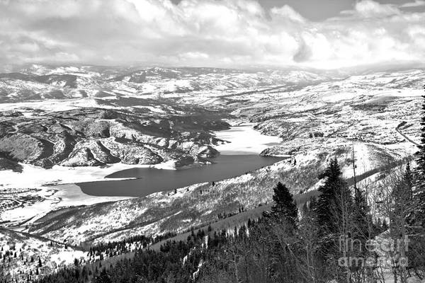 Photograph - Jordanelle Reservoir Over The Trees Black And White by Adam Jewell