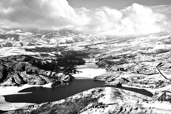 Photograph - Jordanelle Reservoir Winter Wonderland Black And White by Adam Jewell