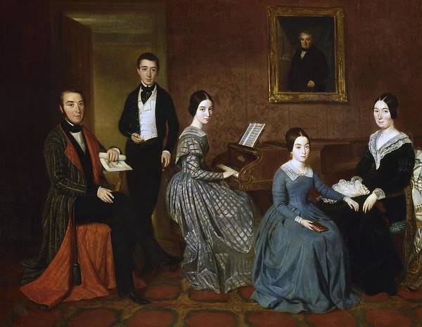 Payment Painting - 'jorge Flaquer And His Family', 1840-1845, Oil On Canvas, 73,5 X 92,5 Cm. Espalter Y Rull Joaquin. by Joaquin Espalter y Rull -1809-1880-