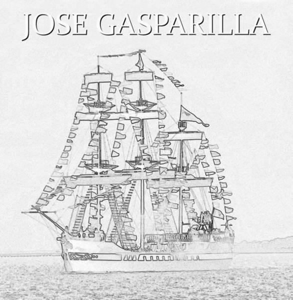 Wall Art - Drawing - Jose Gasparilla Ship Artwork A by David Lee Thompson