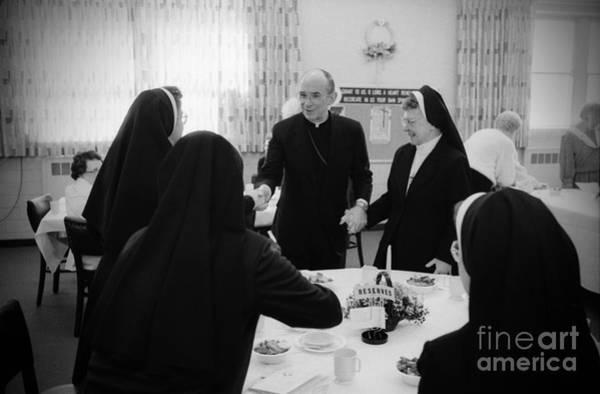 Photograph - Joseph Cardinal Bernardin With Nuns by Frank J Casella