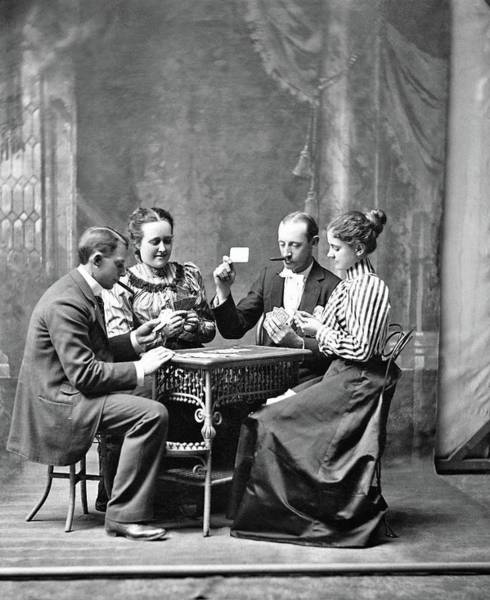 Painting - Joseph Pennell - Four People Playing Cards, 1899 by Joseph Pennell