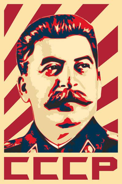 Propaganda Digital Art - Joseph Stalin Retro Propaganda by Filip Hellman