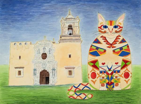 Painting - Josephine, Mission San Jose Cat by Vera Smith