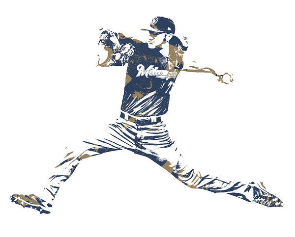 Wall Art - Mixed Media - Josh Hader Milwaukee Brewers Pixel Art 1 by Joe Hamilton