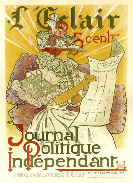 Painting - Journal Politique Independant Vintage French Advertising by Vintage French Advertising