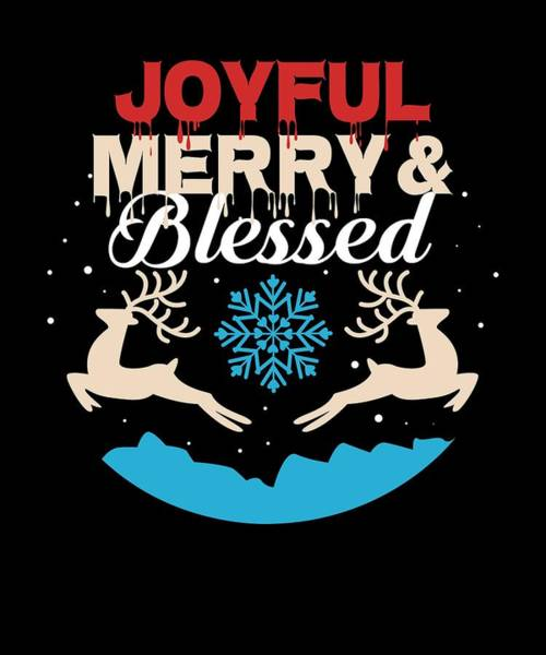 Ugly Digital Art - Joyful Merry Blessed Christmas Reindeer Snow by Passion Loft