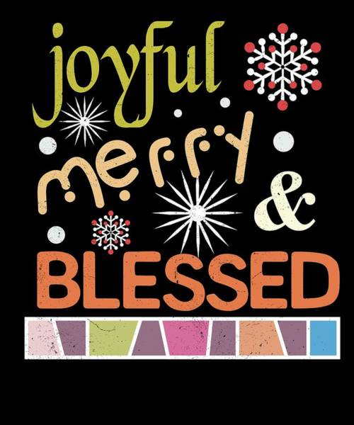 Ugly Digital Art - Joyful Merry Blessed Christmas Snowflakes by Passion Loft