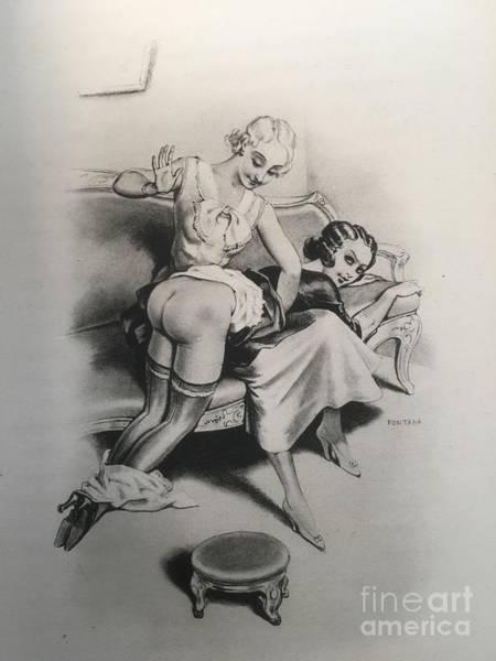 Drawing - Joyful Spanking by Leo Fontan
