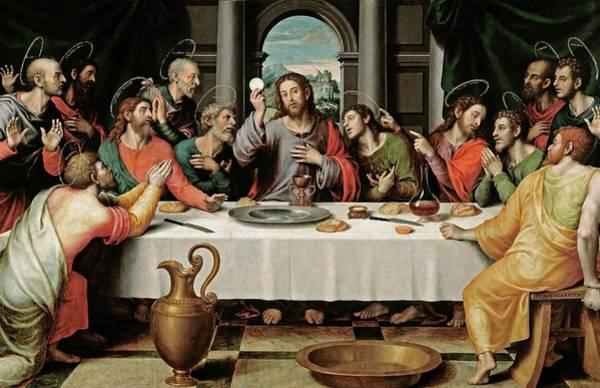 Wall Art - Painting - Juan De Juanes / 'the Last Supper', Ca. 1562, Spanish School, Oil On Panel, 116 Cm X 191 Cm, P00846. by Vicente Juan Masip -c 1507-1579-