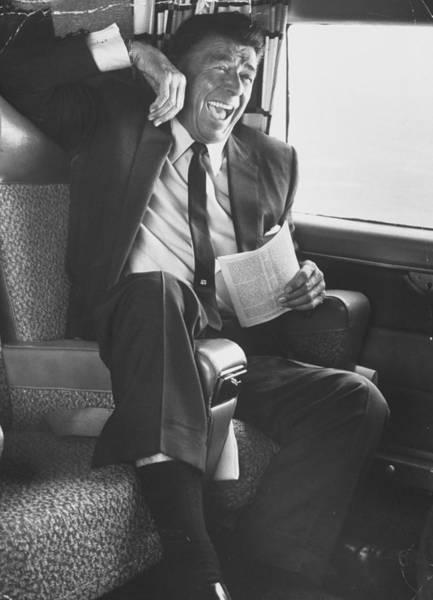 Ronald Reagan Photograph - Jubilant Ronald Reagan Celebrating His by John Loengard