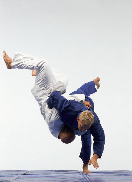 Competitive Sport Photograph - Judo, Male Performing Ippon Against by Mike Powell