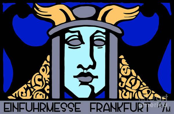 Drawing - Jugendstil Einfuhrmesse Frankfurt Blue by Aapshop