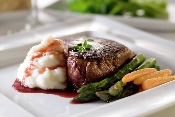Styling Photograph - Juicy Steak, Mashed Potatoes And by Cobraphoto