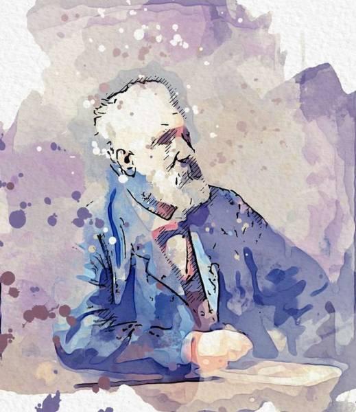 Painting - Jules Verne  Ecrivain  1828 - 1905 Watercolor By Ahmet Asar by Ahmet Asar