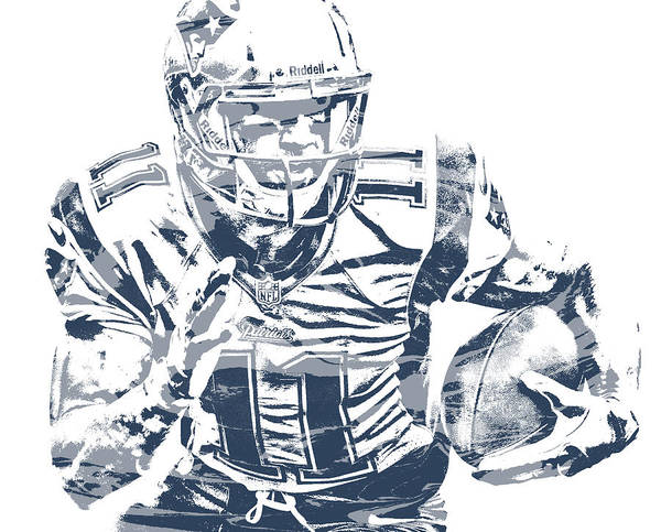 Wall Art - Mixed Media - Julian Edelman New England Patriots Pixel Art 52 by Joe Hamilton