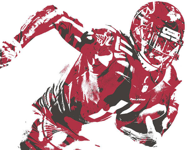 Atlanta Falcons Mixed Media - Julio Jones Atlanta Falcons Pixel Art 30 by Joe Hamilton