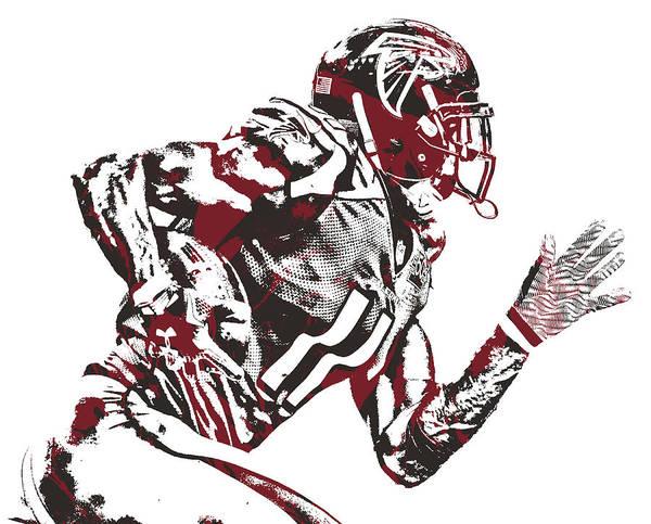 Wall Art - Mixed Media - Julio Jones Atlanta Falcons Pixel Art 50 by Joe Hamilton