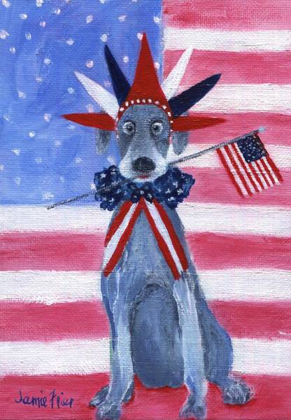 Wall Art - Painting - July 4th Weimaraner by Jamie Frier