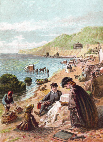 Parasol Digital Art - July - Victorians At The Seaside by Whitemay