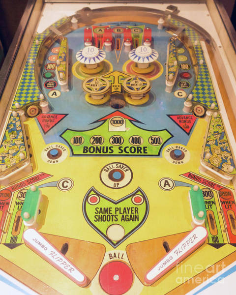 Photograph - Jumbo Flipper Vintage Retro Pinball Playfield by Edward Fielding