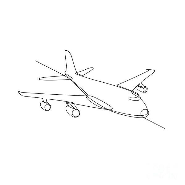 Wall Art - Digital Art - Jumbo Jet Plane Airliner Continuous Line by Aloysius Patrimonio