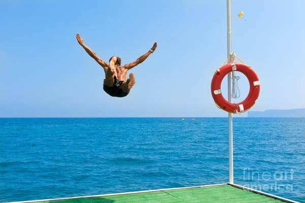 Young Man Wall Art - Photograph - Jump In The Blue Sea by Andrew Buckin