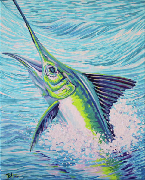 Painting - Jumping Marlin by Tish Wynne