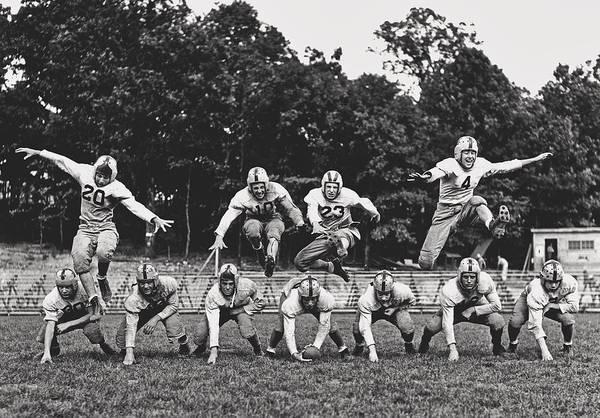 Wall Art - Photograph - Jumping - Oak Ridge High School Football Practice 1944 by Library Of Congress