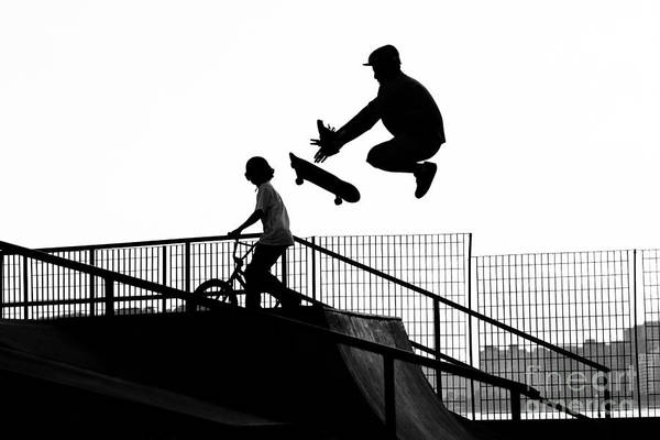 Wall Art - Photograph - Jumping The Ramp With Skateboard by Will Rodrigues