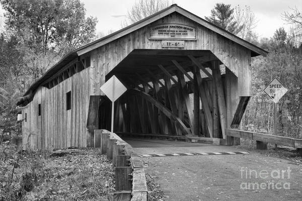 Photograph - Junction Covered Bridge Black And White by Adam Jewell