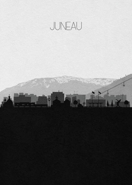 Mounted Digital Art - Juneau Cityscape Art by Inspirowl Design