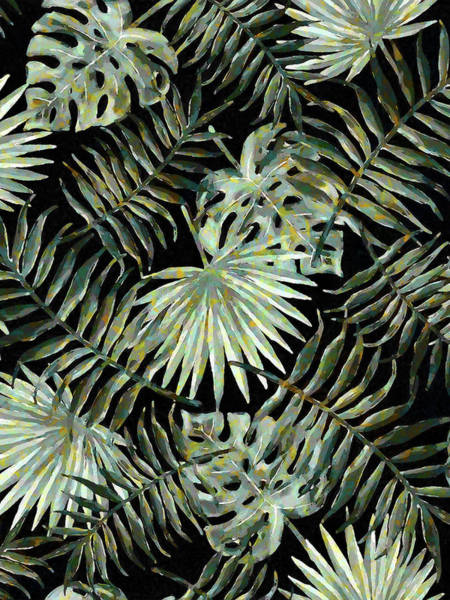 Digital Art - Jungle Dark Tropical Leaves by Menega Sabidussi