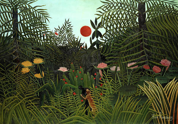 Wall Art - Painting - Jungle With Setting Sun, 1910 by Henri Rousseau