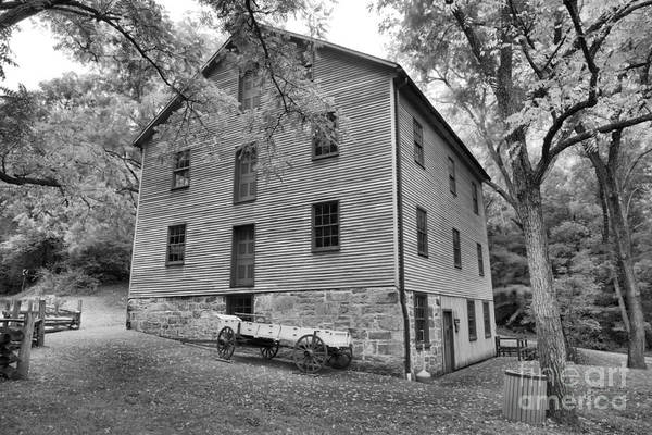 Photograph - Juniata Township Grist Mill Black And White by Adam Jewell