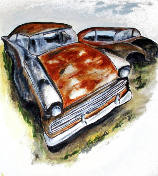 Painting - Junk Car No.10 by Clyde J Kell