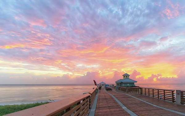 Photograph - Juno Beach Pier Sunrise by Steve DaPonte